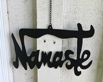 Namaste Wall Art - Metal Namaste Sign - Wall Hangings - Yoga Studio Decor - Wall Decor - Home Decor - Fair Trade - Recycled - Signs