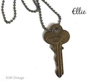 Vintage Key Necklace (ELLIE) - Antique Key Necklaces – House Key Necklace - Old Key Necklace