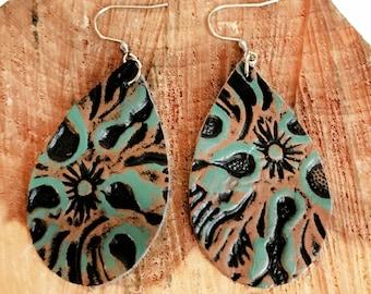 Turquoise & Brown Leather Teardrop Earrings - Dangle Earrings - Genuine Leather Earrings - Boho Earrings - Southwestern Earrings
