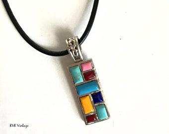 Gemstone Mosaic Tile Necklace - Gemstone Pendant - Mosaic Pendant - Gemstone Jewelry