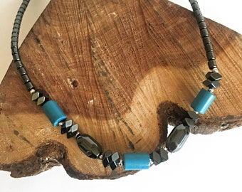 Turquoise Blue Hematite Necklace - Hematite Necklaces - Hematite Jewelry - Gemstone Necklaces - Hematite Necklaces - Unisex Hematite Jewelry