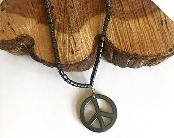 Hematite Peace Sign Necklace - Hematite Necklaces - Hematite Jewelry - Peace Sign Necklaces - Hematite Necklaces - Unisex Hematite Jewelry
