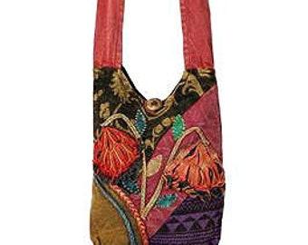 Colorful Floral Patchwork Crossbody Bag - Sling Bags - Fair Trade Bags - Bohemian Shoulder Bag