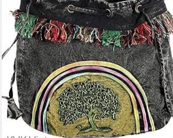 Tree Of Life Hobo Drawstring Bag - Hobo Bags - Bags - Fair Trade - Shoulder Bags - Bohemian Bags - Handbags - Cross body Bags - Purses