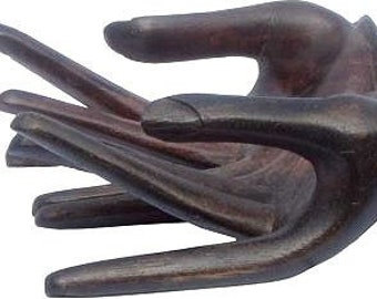 Hands Connected Wood Carving - Sculpture - Wood Sculpture - Hands Sculpture - Fair Trade - Wood Hands - Art Objects - Hands Wooden