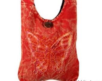 Orange/Red Butterfly Crossbody Bag - Sling Bags - Fair Trade