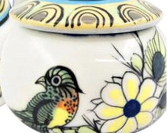 Ceramic Trinket Holder - Jewelry Holder - Candy Holder - Coin Holder - Fair Trade - Ceramic Jar - Jar With Lid - Trinket Jar - Trinket Box