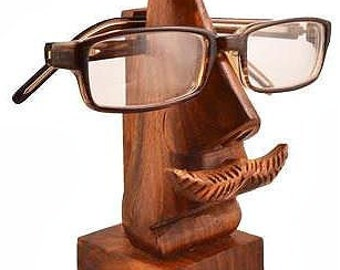 Mr. Mustache Wood Eyeglass Holder - Glasses - Wooden Eye Glass Holder - Fair Trade