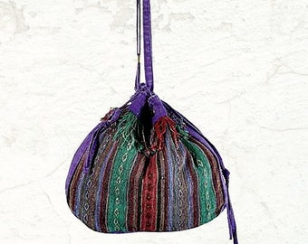 Tibetan Purple Drawstring Bag - Hobo Bags - Purses - Fair Trade - Shoulder Bags - Bohemian Bags - Handbags - Bags - Cross body Bags