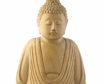 Meditating Whitewood Buddha Statue - Hand Carved Buddha - Sitting Buddha - Home Décor - Fair Trade
