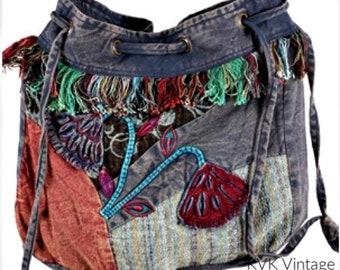 Floral Hobo Drawstring Bag - Hobo Bags - Fair Trade