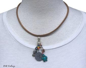 Coastal Spiral Leather Pendant Necklace - Fair Trade - Beaded Necklaces - Boho Necklace