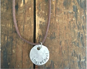 INDIVIDUAL Stamped Disc Necklace - Silver Disc Necklace - Hammered Disc Pendant