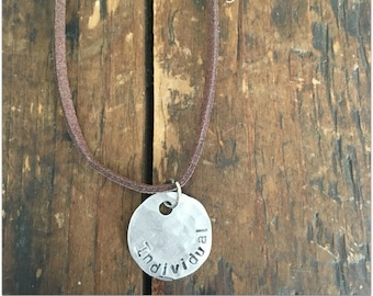 INDIVIDUAL Quote Necklace - Stamped Disc Necklace - Word Necklace - Stamped Pendant Necklace