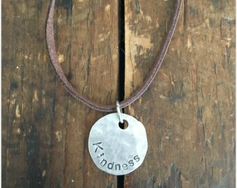KINDNESS Quote Necklace - Stamped Disc Necklace - Word Necklace - Stamped Pendant Necklace
