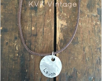 LAUGH Stamped Disc Necklace - Silver Disc Necklace - Hammered Disc Pendant
