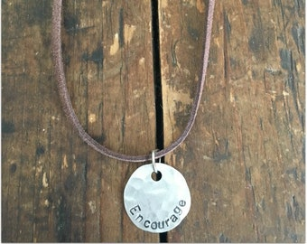 ENCOURAGE Stamped Disc Necklace - Silver Disc Necklace - Hammered Disc Pendant