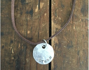 DREAM Stamped Disc Necklace - Silver Disc Necklace - Hammered Disc Pendant