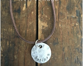 BELIEVE Stamped Disc Necklace - Silver Disc Necklace - Hammered Disc Pendant
