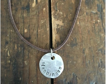 HAPPINESS Stamped Disc Necklace - Silver Disc Necklace - Hammered Disc Pendant