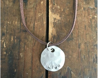 LIVE Stamped Disc Necklace - Silver Disc Necklace - Hammered Disc Pendant