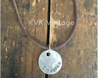 IMAGINE Stamped Disc Necklace - Silver Disc Necklace - Hammered Disc Pendant