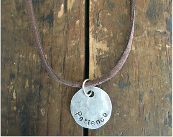 PATIENCE Stamped Disc Necklace - Silver Disc Necklace - Hammered Disc Pendant
