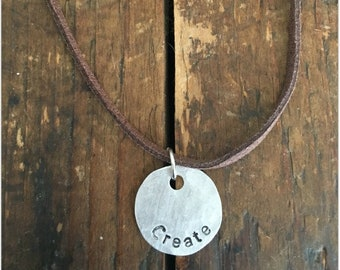 CREATE Stamped Disc Necklace -  Silver Disc Necklace - Hammered Disc Pendant