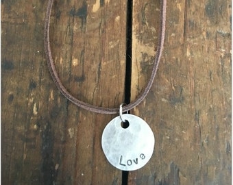 LOVE Stamped Disc Necklace -  Silver Disc Necklace - Hammered Disc Pendant