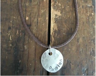 Disc Word Necklace - PASSION - Disc Pendant - Word Necklace - Inspiring Necklace - Inspirational Necklace - Choker