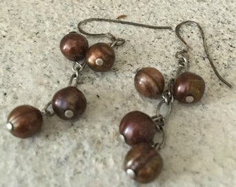 Brown Freshwater Pearl Drop Earrings - Freshwater Pearl Earrings - Pearl Earrings - Dangle Earrings - Drop Earrings - Pearl Danging Earrings