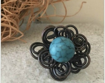 Twisty Wire Flower Ring - Wire Ring - Twist Ring - Faux Turquoise Ring - Rings - Statement Rings - Flower Rings