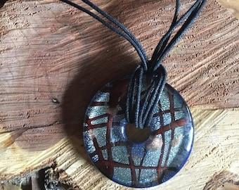 Vintage Stripe Design Brown Murano Glass Pendant - Murano Glass - Murano Glass Necklace - Murano Glass Pendant - Murano Class Jewelry