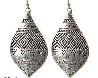Boho Hammered Silver Earrings - Boho Earrings - Dangle Earrings - Ethnic Earrings - Bohemian Jewelry