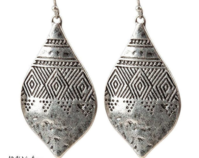 Featured listing image: Boho Engraved & Hammered Silver Earrings - Bohemian Earrings - Ethnic Earrings - Bohemian Jewelry