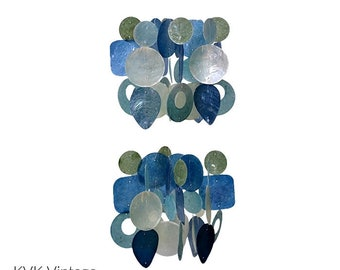 Blue & Green Chandelier Capiz Shell Wind Chime - Garden Decoration - Fair Trade - Shell Chimes
