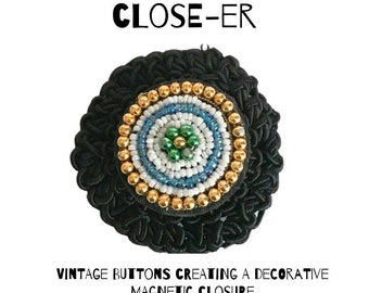 Bead & Black Crochet Button Brooch Pin - Magnetic Pin - Button Jewelry - Brooches - Vintage Jewelry