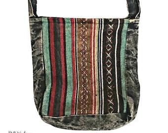 Woven Striped Crossbody Bag - Sling Bag - Boho Bag - Handmade Bag