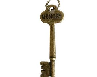 MEMORY Key Necklace - Key Necklace - Boho Key Necklace – Stamped Necklace - Word Key