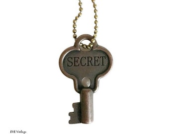SECRET Key Necklace - Key Necklace - Boho Key Necklace – Stamped Necklace - Word Key