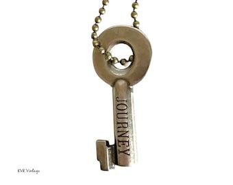 JOURNEY Key Necklace - Key Necklace - Boho Key Necklace – Stamped Necklace - Word Key