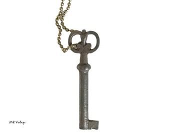 Vintage Skeleton Key Necklace (FLORA) - Key Necklace - Old Key - Boho Key Necklace