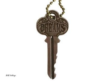 DREAMS Key Necklace - Key Necklace - Boho Key Necklace – Stamped Necklace - Word Key