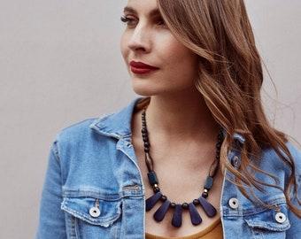 Estate Blue Cordoba Tagua Necklace - Fair Trade - Acai Seed Necklace - Beaded Necklace