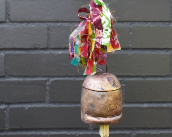 Sari Fringe Ribbon Bell - Bells - Chimes - Up Cycled Metal - Garden Decoration - Fair Trade -  Home Decor - Copper Bells - Hand Crafted