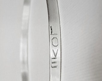 Sterling Silver Word Bracelet - Sterling Bangle Bracelet - Sterling Inspiring Bracelet