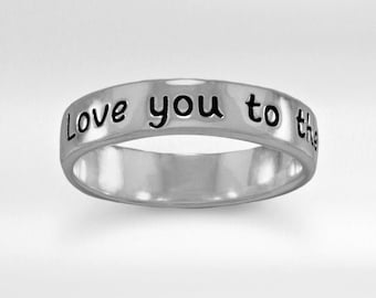 "Sterling ""Love You To The Moon"" Band Ring - Sterling Word Rings - Sterling Inspiring Rings"