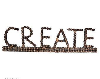 CREATE Desk Art Sculpture - Art Objects - Sculpture - Art - Chain Art - Industrial Decor -  Bike Chain Sculpture - Metal Art - Fair Trade