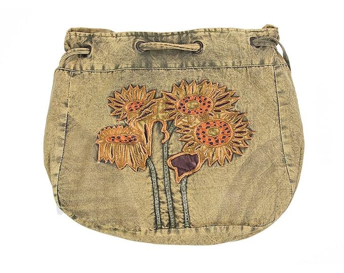 Featured listing image: Sunflower Design Crossbody Bag - Sling Bags - Fair Trade Bags - Bohemian Handbags - Drawstring Bag