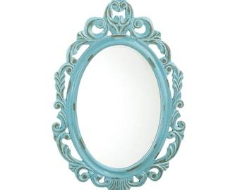 Vintage Baby Blue Wall Mirror - Decorative Mirror - Home Decor - Shabby Chic Mirror - Vintage Mirror - Ornate Mirror - Painted Mirror